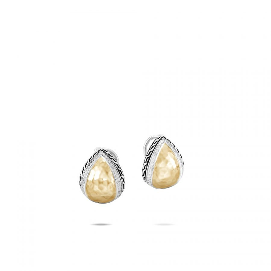 Chain Buddha Belly Earring in Silver & Hammered Gold with White Diamonds 2