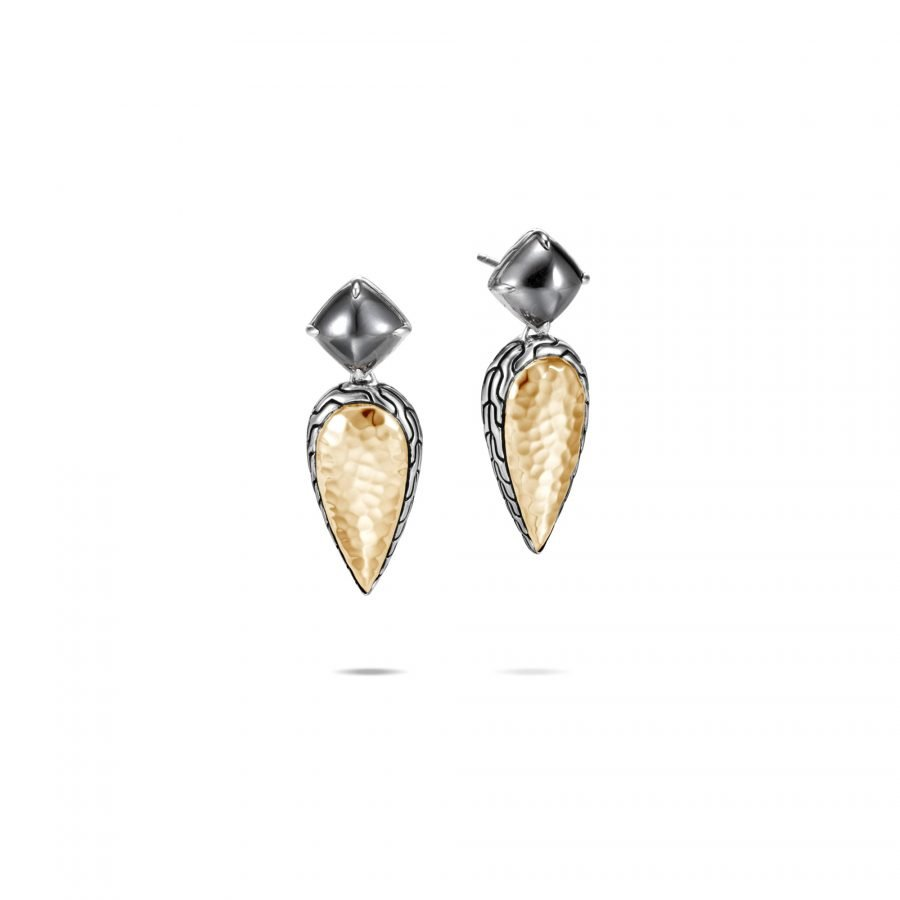 Classic Chain Drop Earring in Silver & Hammered 18K Gold with Hematite 2