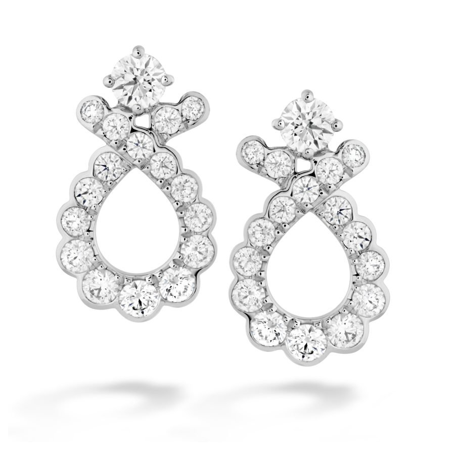 Earrings - Aerial Regal Scroll Earrings 0.90 ctw. in 18K White Gold 2