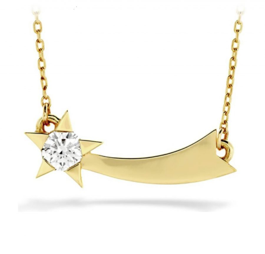Necklace - Illa Single Diamond Comet Necklace with 0.13 ctw Hearts On Fire diamonds in 18K Yellow Gold 2