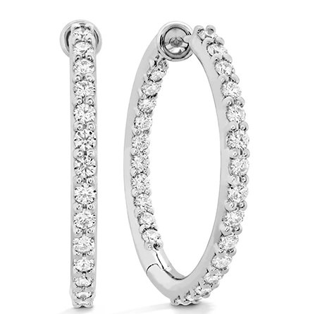 Earrings - Classic Dia Hoop Inside Out 0.80 ctw. Hearts On Fire Diamonds in 18K White Gold - Medium 2
