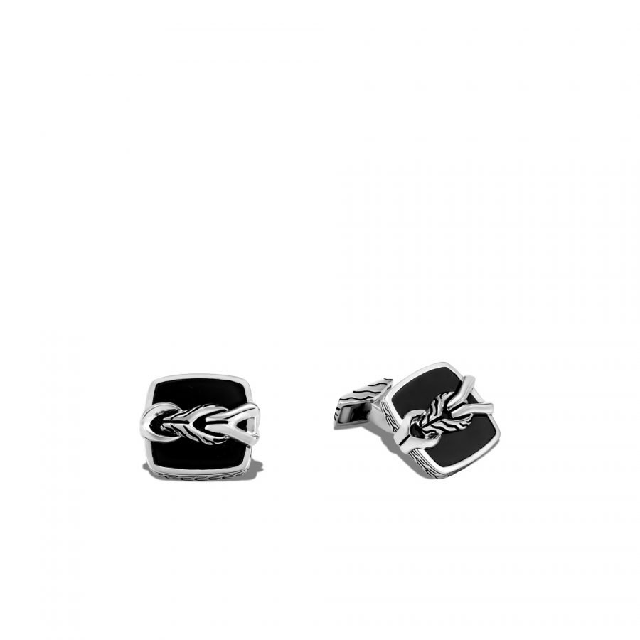 Asli Classic Chain Link Cufflinks in Silver with Black Onyx 2