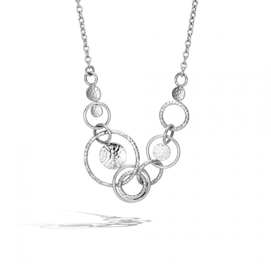 Dot Multi Link Necklace in Hammered Silver 2