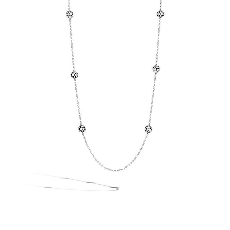 Dot 4MM Station Necklace in Silver 2