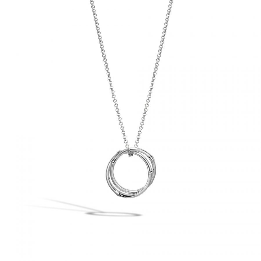 """Bamboo Interlinking Pendant Necklace in Silver 18"""" to 20"""" 2"""
