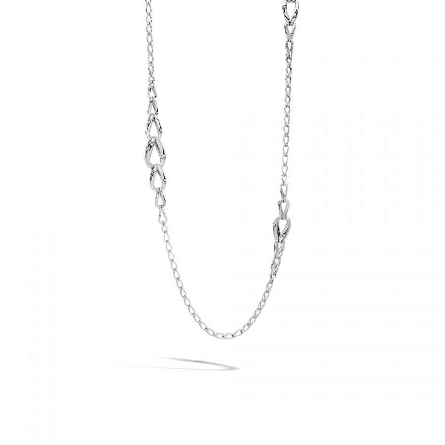 Bamboo 14MM Graduated Link Necklace in Silver 2