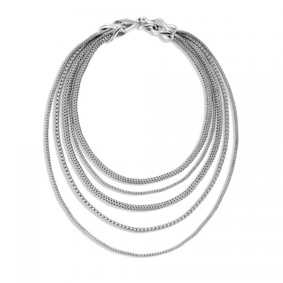 Asli Classic Chain Link Bib Necklace in Silver 2