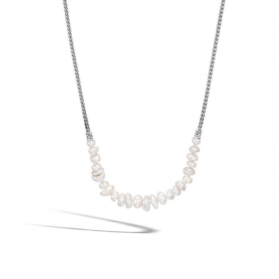 Classic Chain Station Necklace in Silver with White Fresh Water Pearl 2