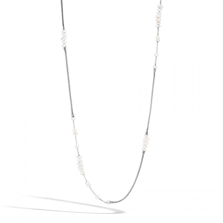 Classic Chain Long Necklace in Silver with White Fresh Water Pearl 2
