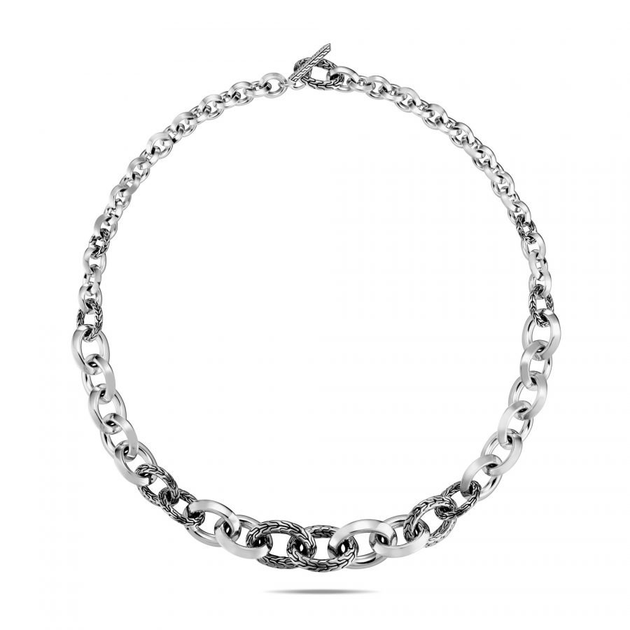 Classic Chain Graduated Knife Edge Link Necklace in Silver 2