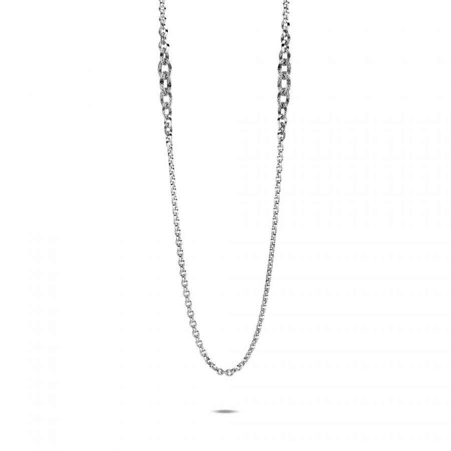 Classic Chain Knife Edge Long Necklace in Silver 2