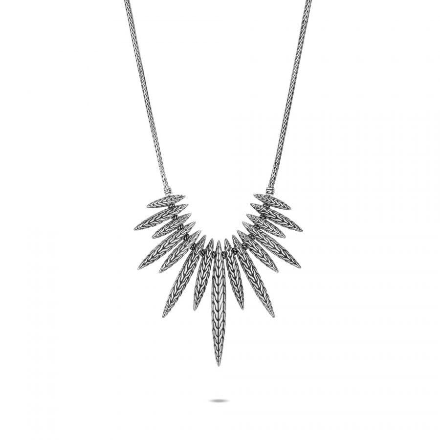 Classic Chain Spear Bib Necklace in Silver 2
