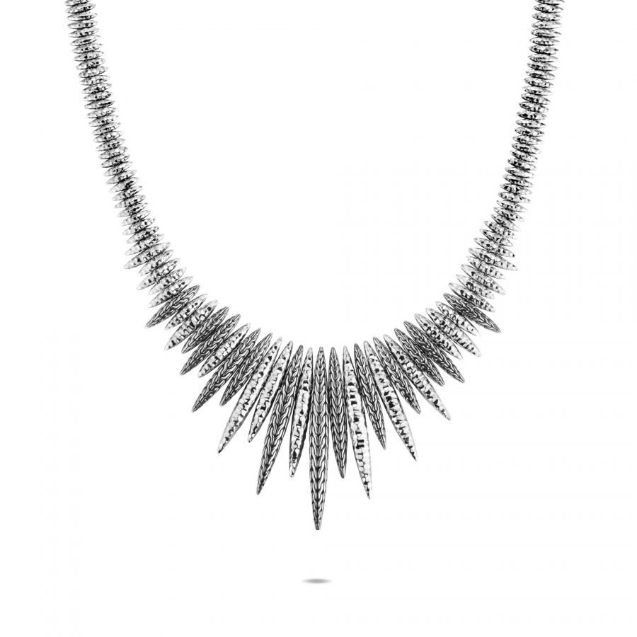 Classic Chain Spear Bib Necklace in Hammered Silver 2
