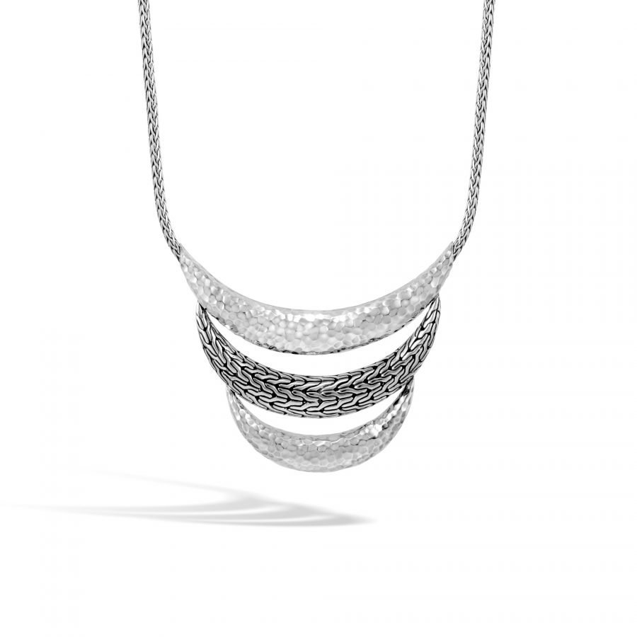 Classic Chain Bib Necklace in Hammered Silver 2