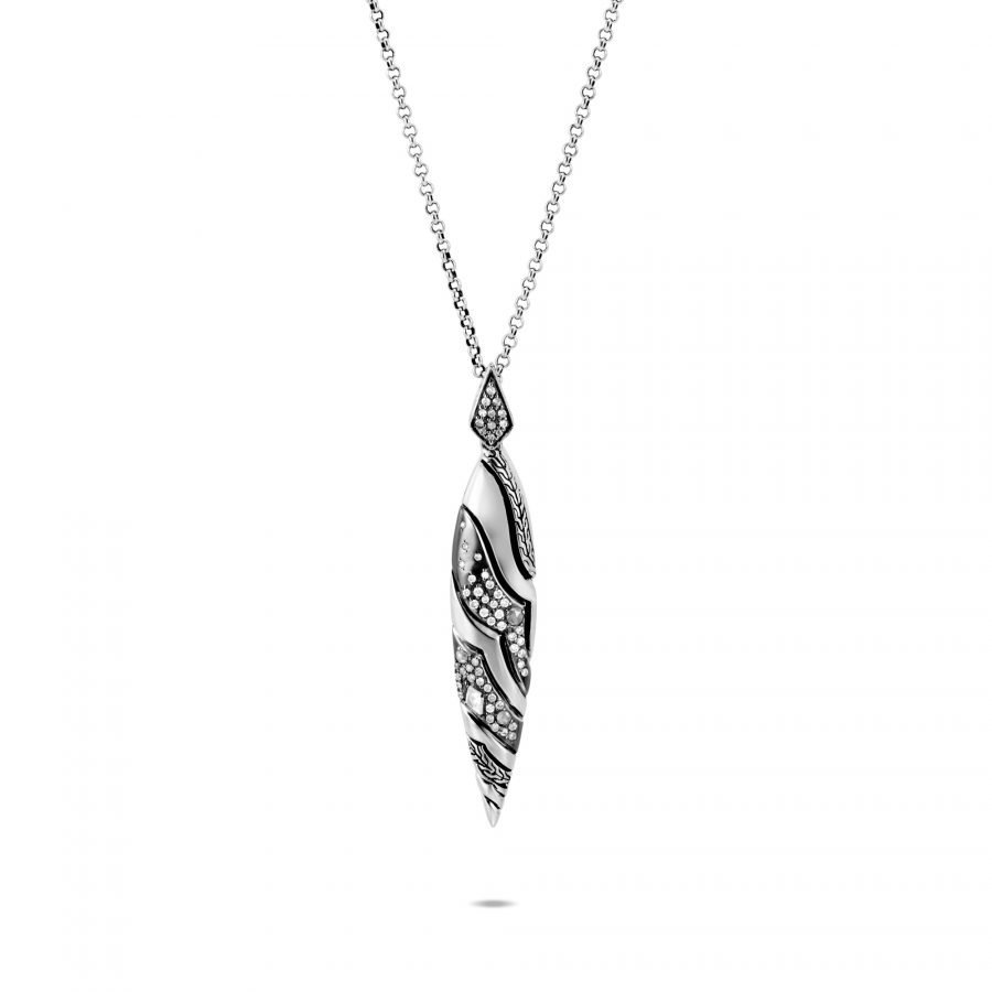 Lahar Marquise Pendant Necklace in Silver with White Diamonds 2