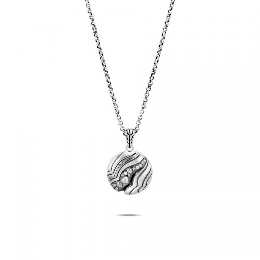 Lahar Pendant Necklace in Silver with White Diamonds 2