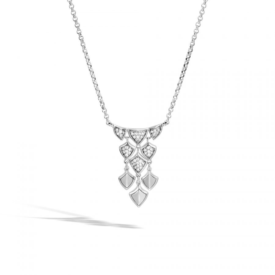 Legends Naga Necklace in Silver with White Diamonds 2