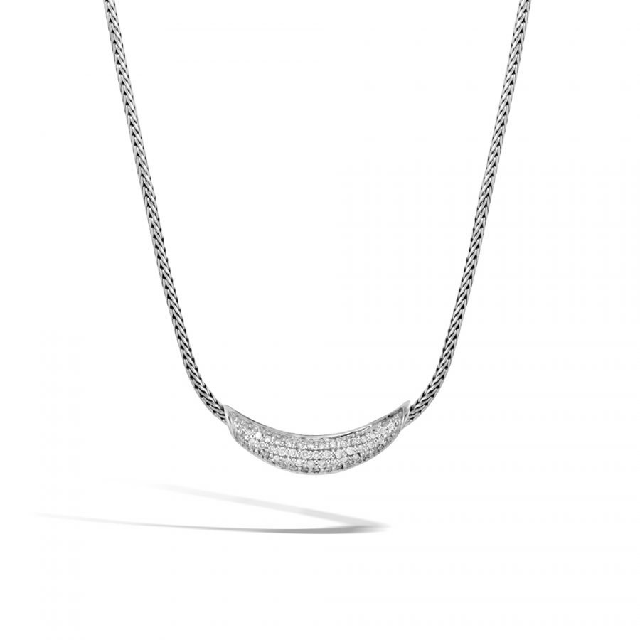 Classic Chain Necklace in Silver with White Diamonds 2