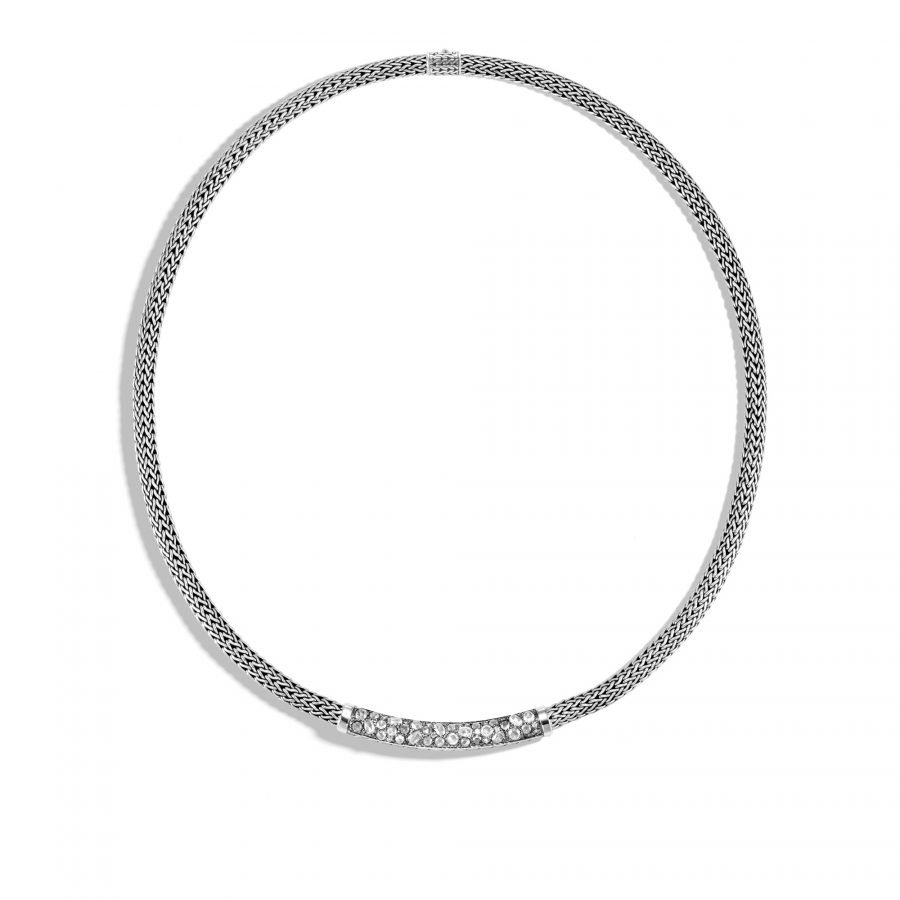 Classic Chain 5MM Station Necklace in Silver with White Diamonds 2