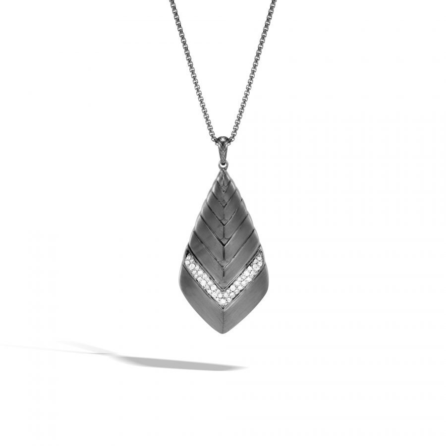 Modern Chain Pendant Necklace in Blackened Silver with White Diamonds 2