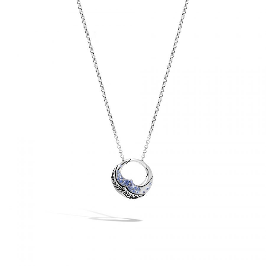 Lahar Pendant Necklace in Silver with Blue Sapphire 2