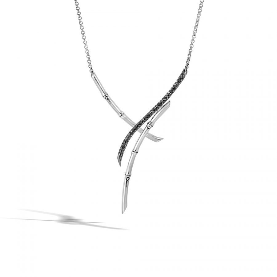 """Bamboo Necklace in Silver with Black Spinel 20"""" to 22"""" 2"""
