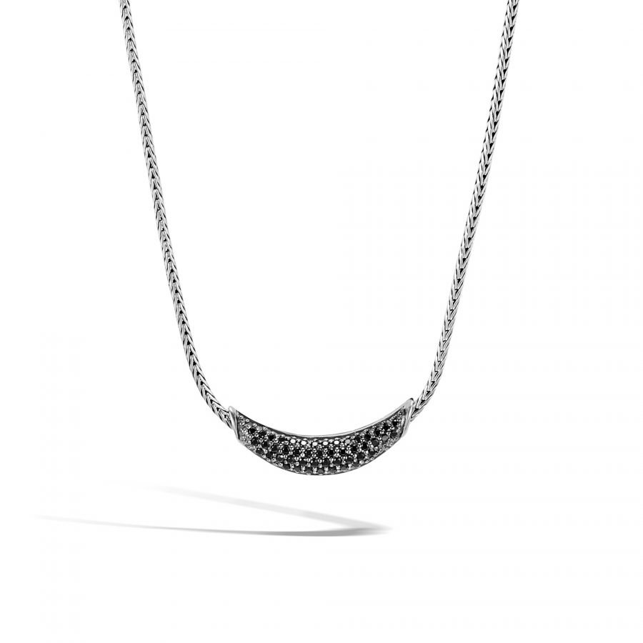 Classic Chain Necklace in Silver with Black Spinel 2