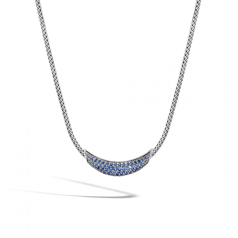 Classic Chain Necklace in Silver with Blue Sapphire 2