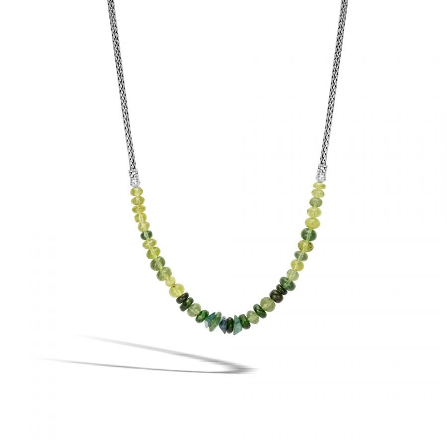 Classic Chain Necklace in Silver with Green Tourmaline 2