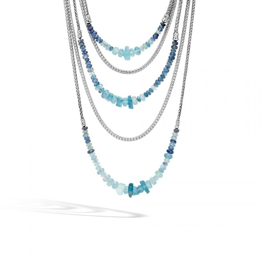 Asli Classic Chain Link Bib Necklace in Silver with Aquamarine 2