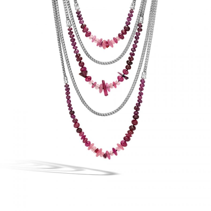Asli Classic Chain Link Bib Necklace in Silver with Pink Tourmaline 2