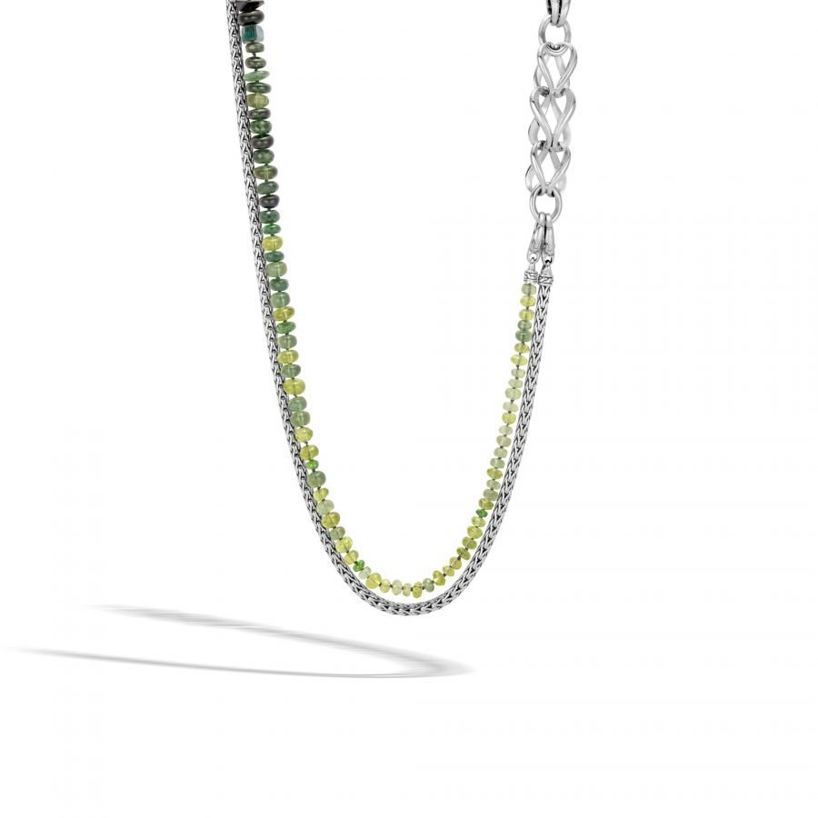 Asli Classic Chain Link Double Row Necklace in Silver, Chrome Tourmaline 2