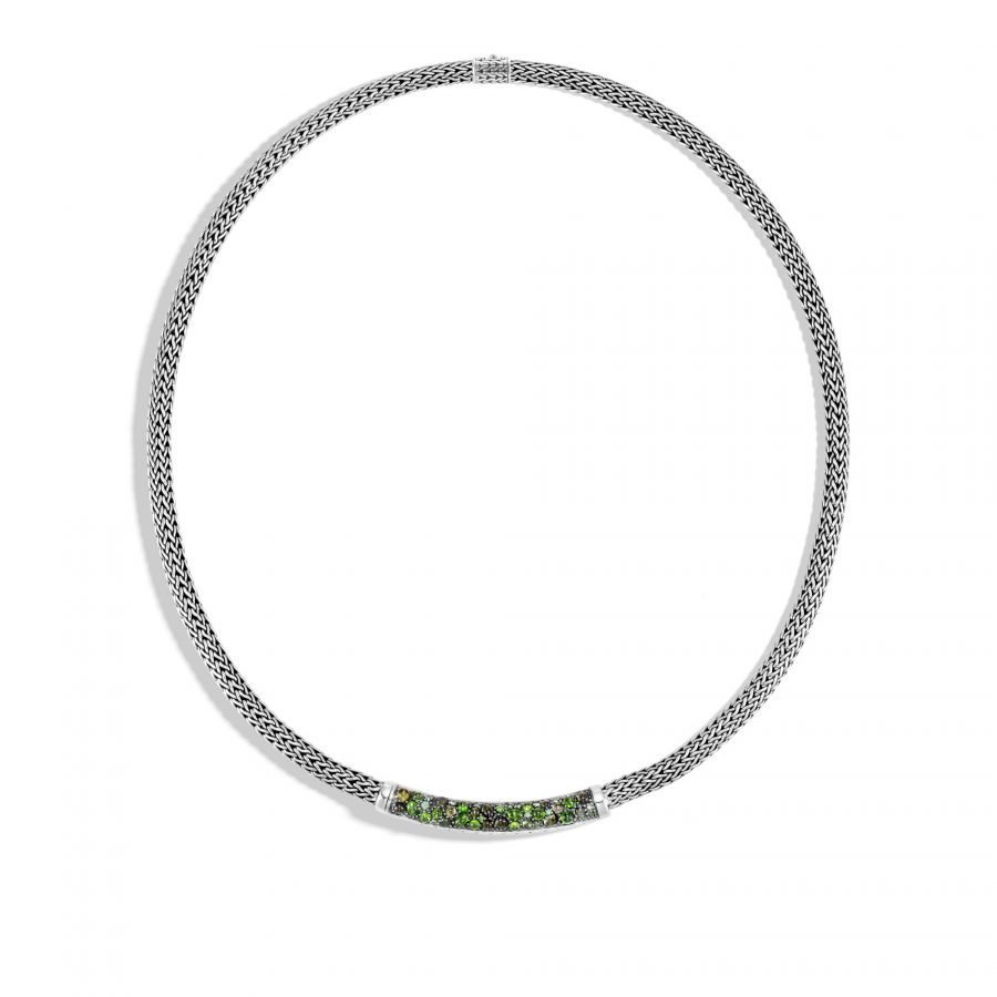 Classic Chain 5MM Station Necklace in Silver with Green Tourmaline 2