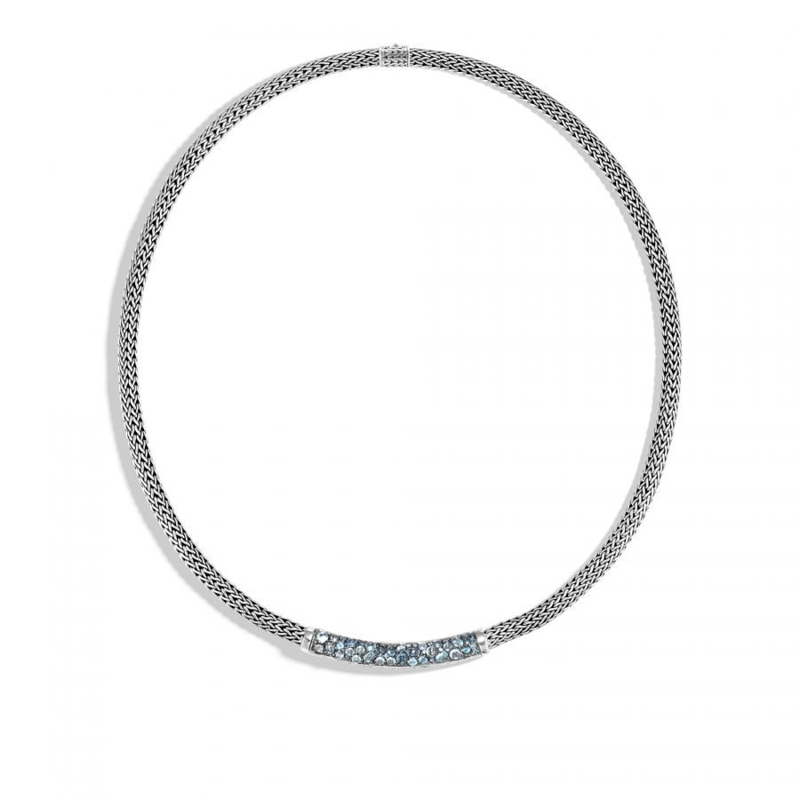Classic Chain 5MM Station Necklace in Silver with London Blue Topaz 2