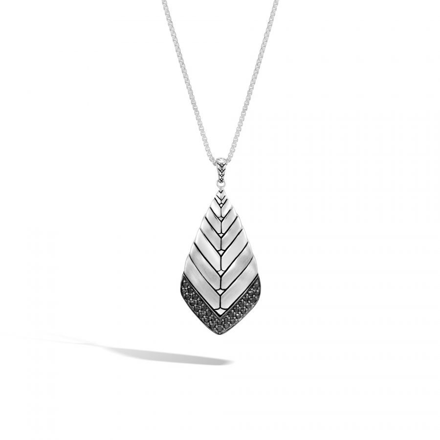 Modern Chain Pendant Necklace in Brushed Silver with Black Sapphire 2