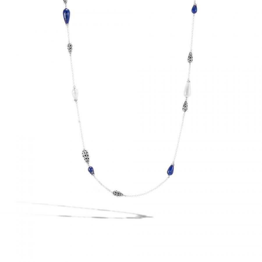 Classic Chain Station Necklace in Silver with Lapis Lazuli 2