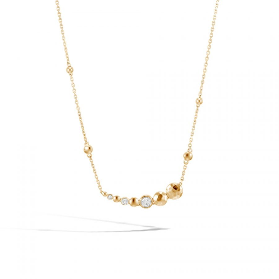 Dot Long Necklace in Hammered 18K Gold with Diamonds 2
