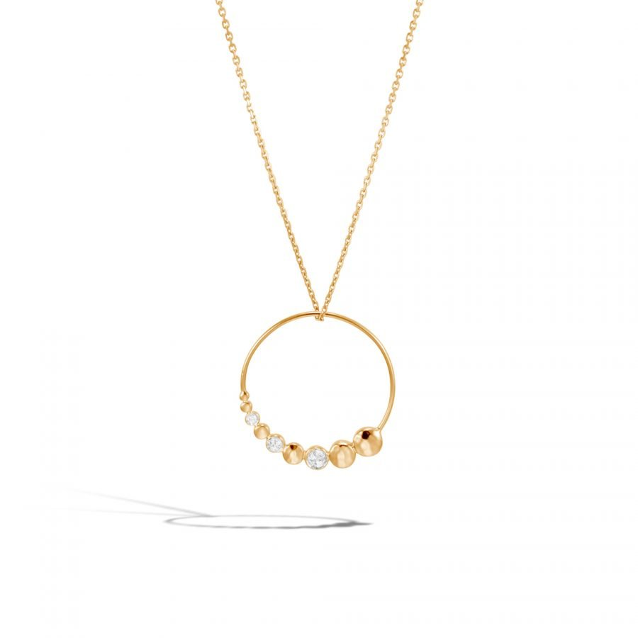Dot Pendant Necklace in Hammered 18K Gold with Diamonds 2