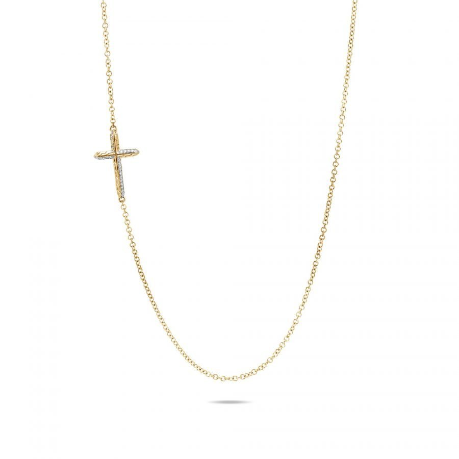 Classic Chain Cross Necklace in 18K Gold with White Diamonds 2