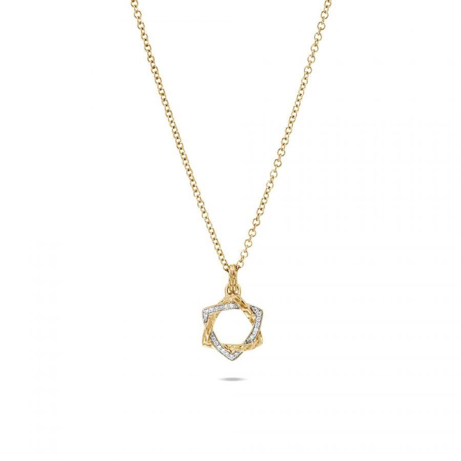 Classic Chain Star of David Necklace in 18K Gold with White Diamonds 2