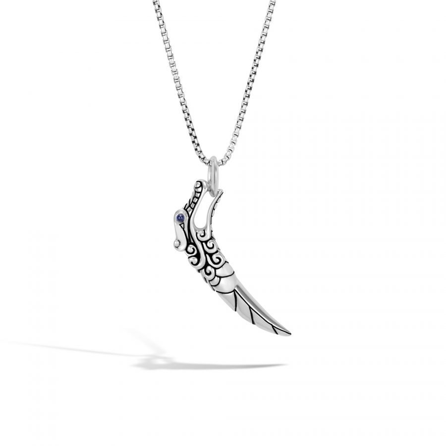 Legends Naga Pendant Necklace in Silver with Blue Sapphire 2