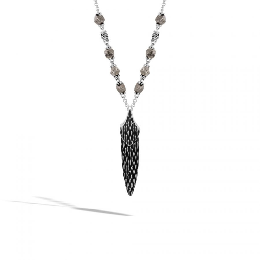 Legends Naga Pendant Necklace in Silver with 4MM Pyrite 2