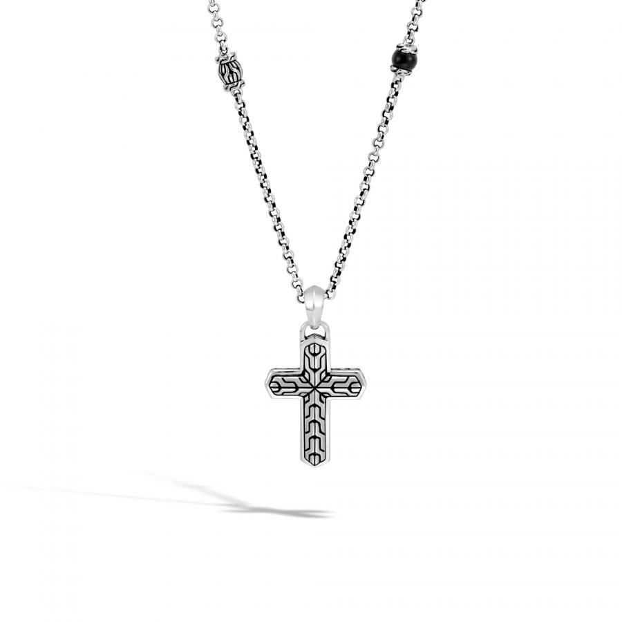 Classic Chain Cross Pendant in Silver with Black Onyx 2