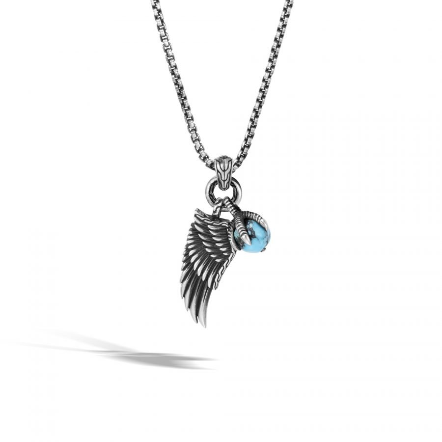 Legends Eagle Wing Pendant Necklace in Silver with Turquoise & Pyrite 2