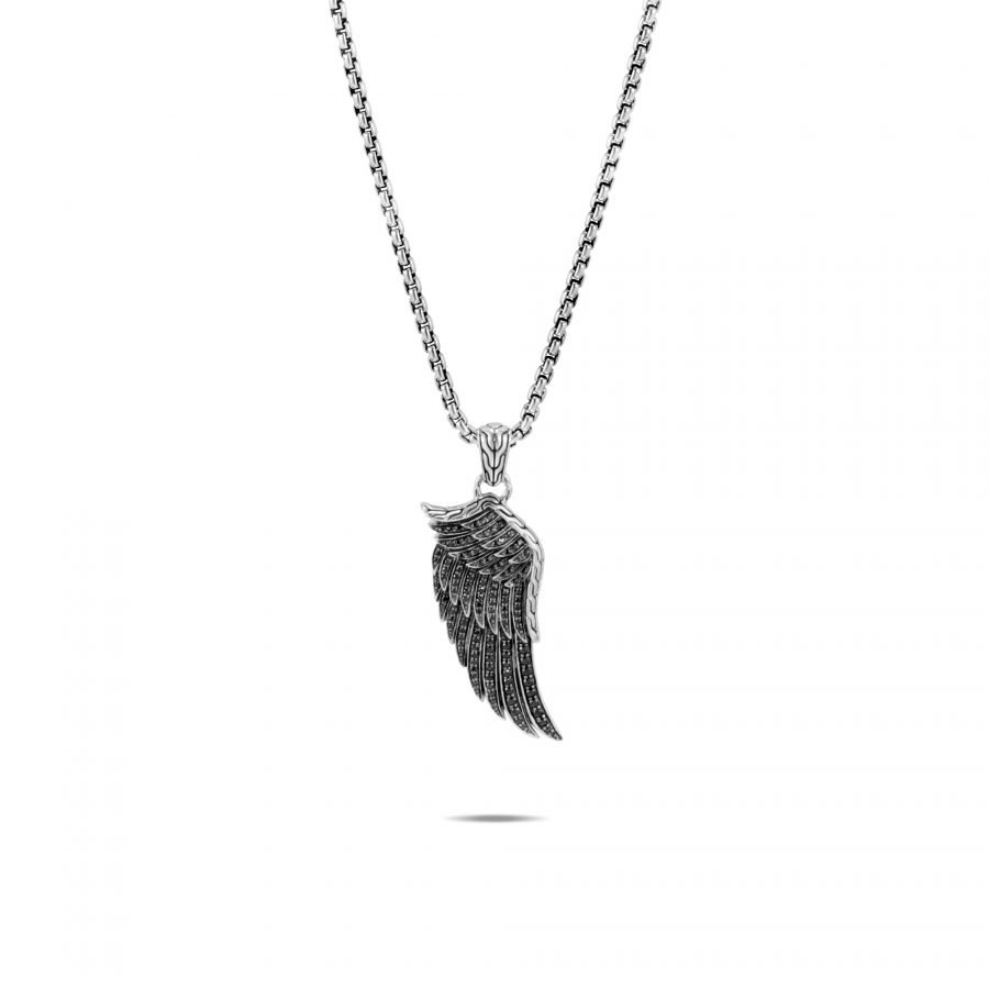 Legends Eagle Wing Pendant Necklace in Silver with Black Spinel 2