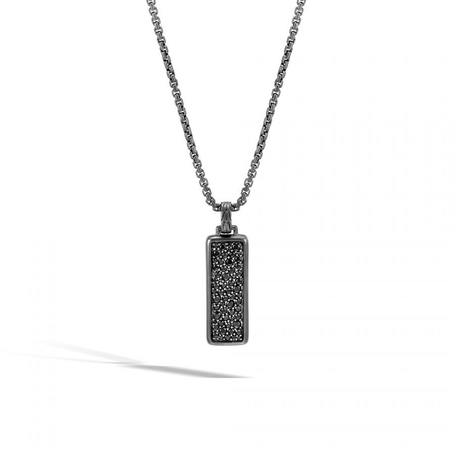 Classic Chain Dog Tag Necklace in Blacked Silver with Black Sapphire 2