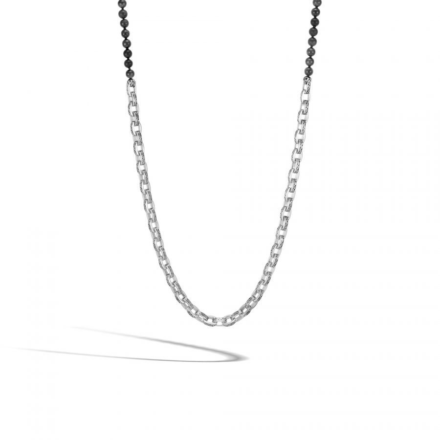 Classic Chain Link Necklace in Silver with 6MM Black Onyx 2