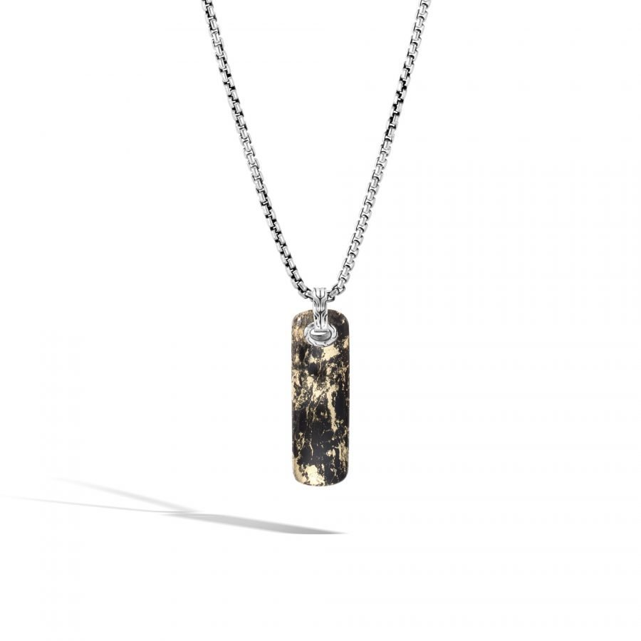 Classic Chain Pendant Necklace in Silver with Apache Gold 2
