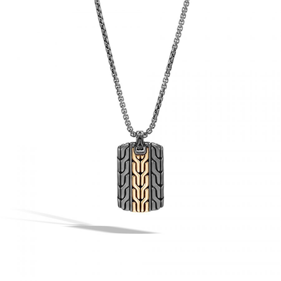 Classic Chain Dog Tag Necklace in Blacked Silver and 18K Gold 2