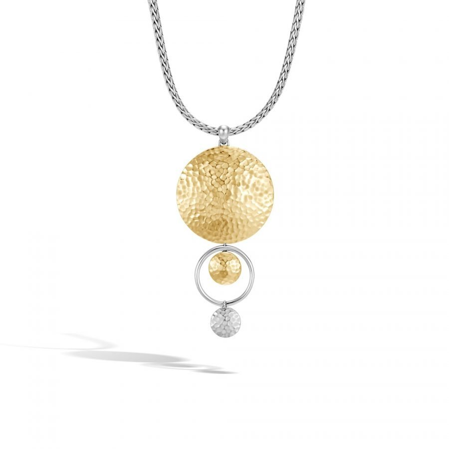 Dot Drop Pendant Necklace in Silver and Hammered 18K Gold 2